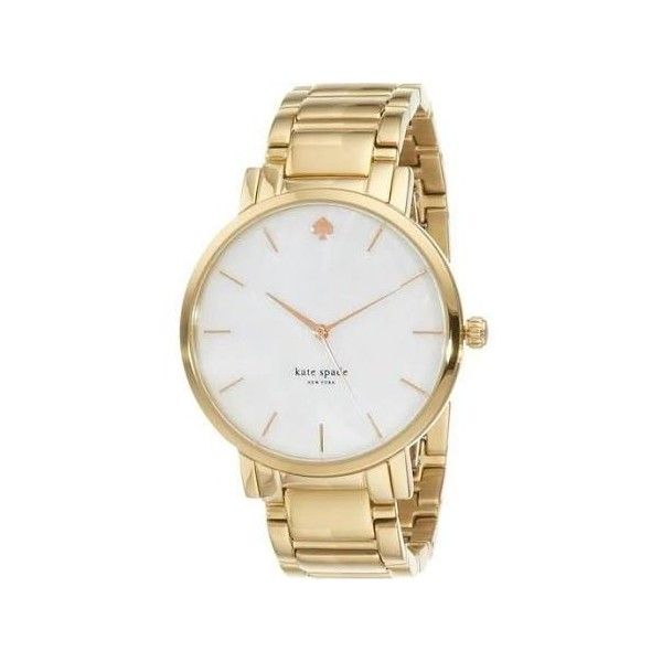 Kate Spade Gramercy Grand Mother of Pearl Dial Gold-tone Ladies Watch ($173) ❤ liked on Polyvore featuring jewelry, watches, bezel watches, kate spade bracelet, analog wrist watch, logo watches and clasp bracelet