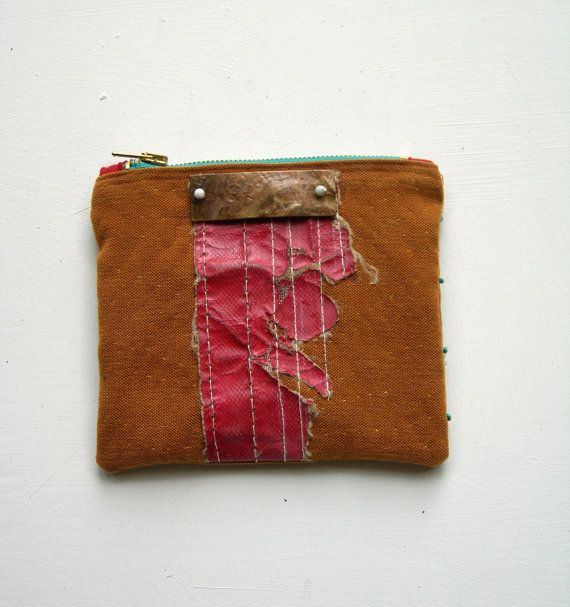 Toffee Colored Purse. Clutch decorated with sea distressed panel and beads.Teal zipper pouch Teal zipper pouch.. ooak