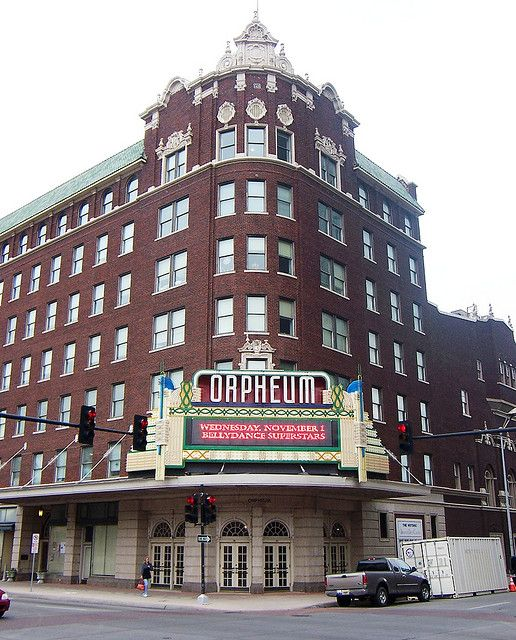 """Orpheum Theater - Wichita, Kansas.  Little known fact:  On May 17, 2008 the music video for """"International Harvester"""" was filmed at this intersection in Wichita, Kansas during the Wichita River Festival."""