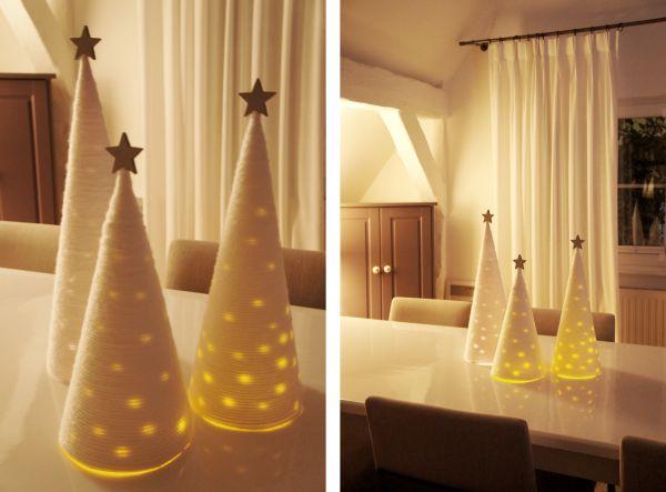 Christmas cones trees - Christmas DIY Decor  The Blue Post - Decoração de Natal - DIY Coletivo: Centro de mesa iluminado