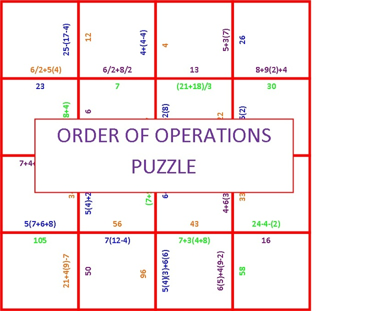 Search Results For Worksheets Order Of Operations Puzzle