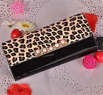 New Fashion Gloss Leopard Print Women Wallet,lady Long clutch bag purse free shipping $8.09 (free shipping)