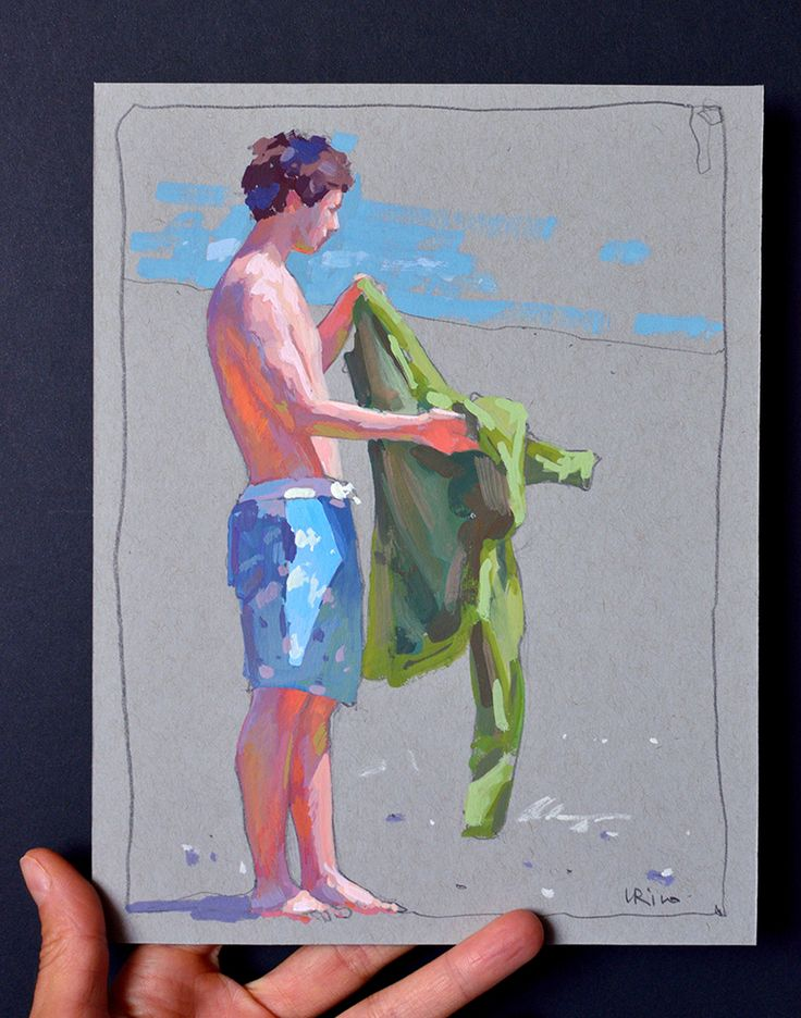 Lena Rivo's Painting Blog: Boy getting ready for a swim