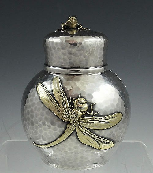 c. 1880s Tiffany & Co sterling and mixed metal tea caddy with applied dragonfly. Britannia Silver)