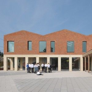 Feilden Fowles reinterprets classical typologies for red brick school building in Somerset