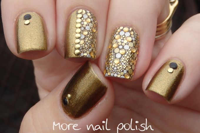 Revlon Marchesa nail wrap Gilded Mosaic ; aEngland Holy Grail ; gold and black studs ; 4/30/14
