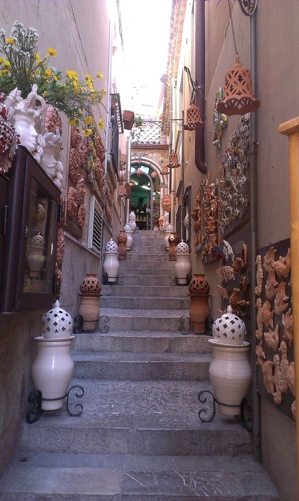 Typical old town street with local ceramic, Taormina - The Pearl of Sicily