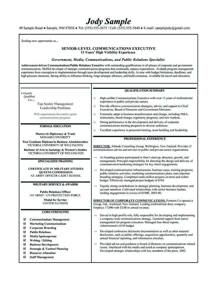 Corporate Resume Examples Corporate Communication Executive Resume