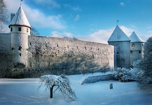 Tallinn medieval town wall, cold winter day, frost