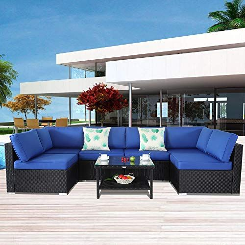 patio furniture black rattan sofa wicker sectional couch set outside rh pinterest com