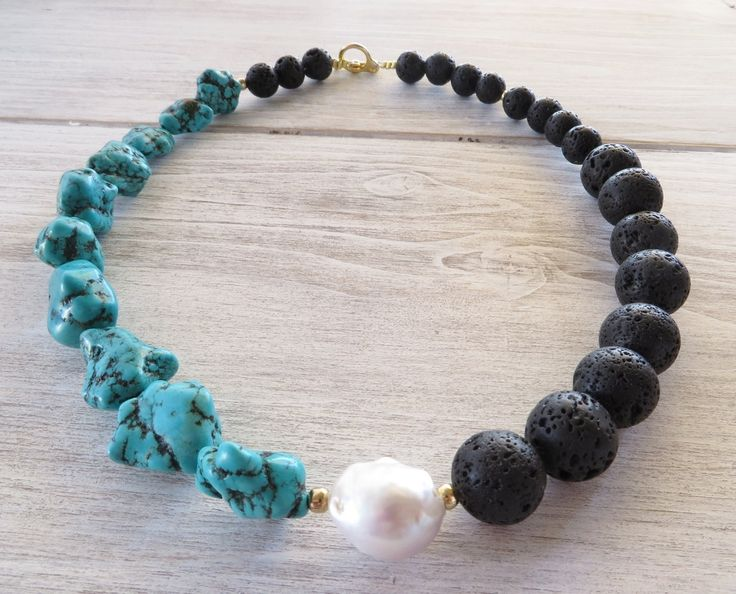 Turquoise necklace, black lava necklace, gemstone choker, beaded necklace with baroque pearl, lava jewelry, gift for her, italian jewellery by Sofiasbijoux on Etsy