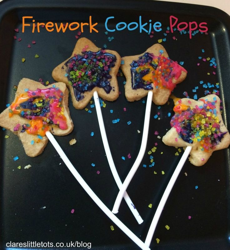 Firework cookie pops. Fun baking with toddlers and preschoolers for bonfire night / guy fawkes night / new year