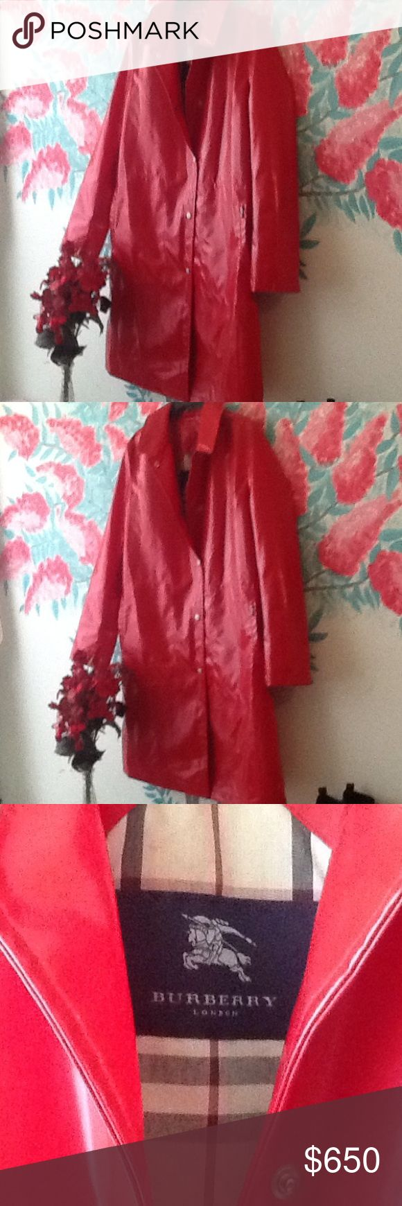 Burberry Red Patent Trench Coat Pristine Condition. SUPER CLEAANNN!!! No rips, holes, or stains of any kind. Burberry Jackets & Coats Trench Coats