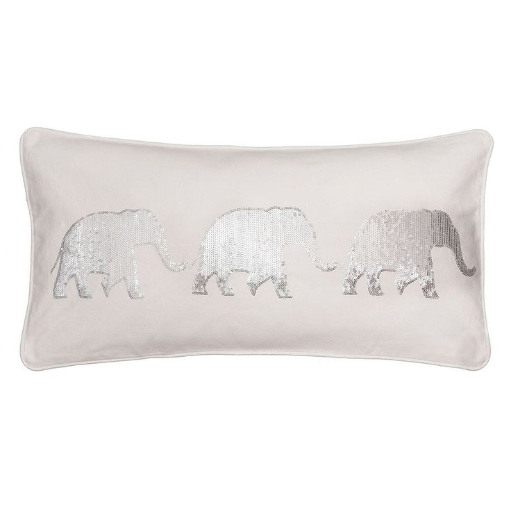 Sparkle Sequin Elephant Throw Pillow, White