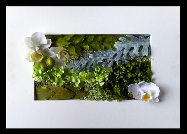 Artificial and Dry leaves in a frame by Kent Florist Mikiko Inoue