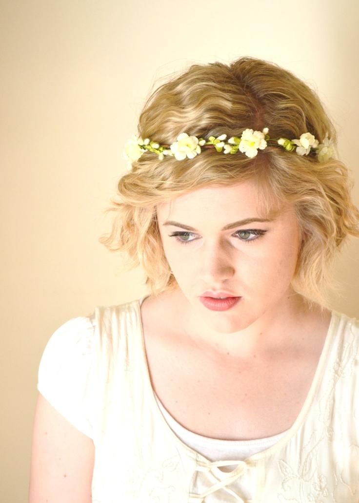 Ivory Wedding Headpiece, Floral Hair Wreath, Flower Girl Head Wreath, Vine Crown, Hair Crown, Bridal Crown, Flower Crown - SHEPERDESS. $20.00, via Etsy.