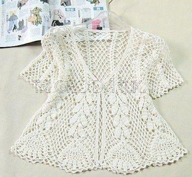 Chorrilho de ideias: Casaco branco em algodão crochet rendado com grafico White crochet jacket, cardigan or sweater