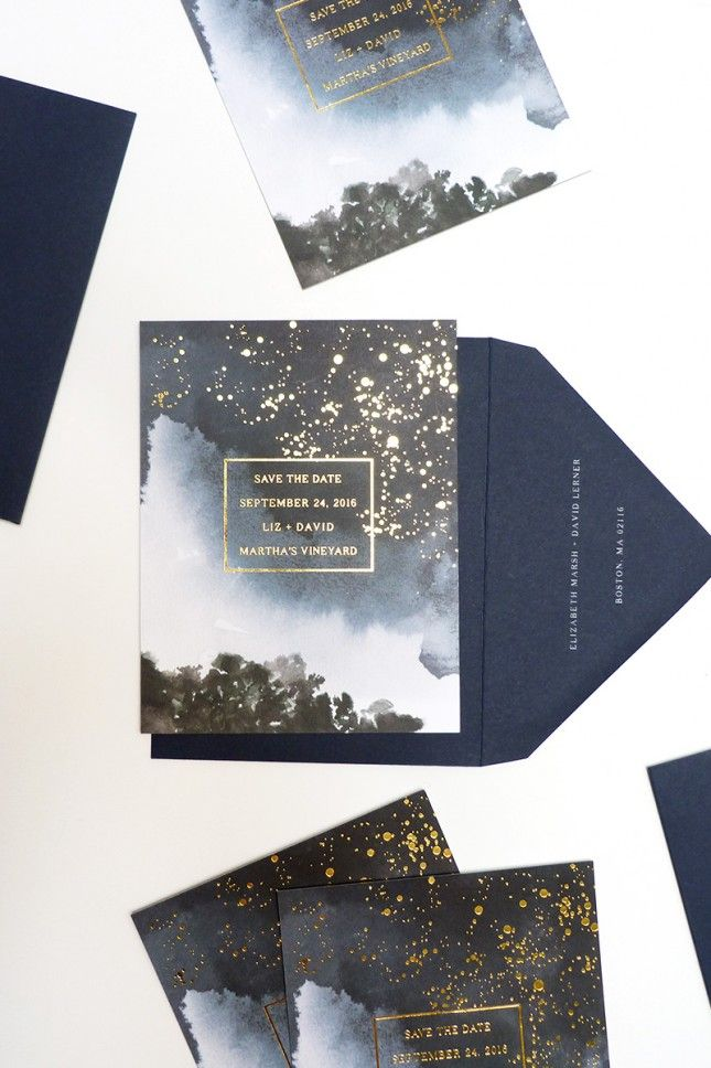 Get creative with an out-of-this-world wedding invite that features gorgeous gold lettering.
