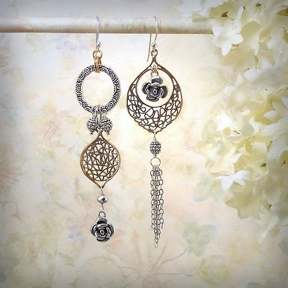Moroccan Rose Asymmetrical Earrings Strerling Silver Solid Bronze Filigree Mixed Metals Dangle Exotic Boho Gypsy Earrings Festival Jewelry, by MiaMontgomery at Etsy