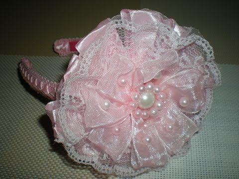Ободок с нежным цветком для маленькой принцессы своими руками. / DIY Flowers Kanzashi - YouTube