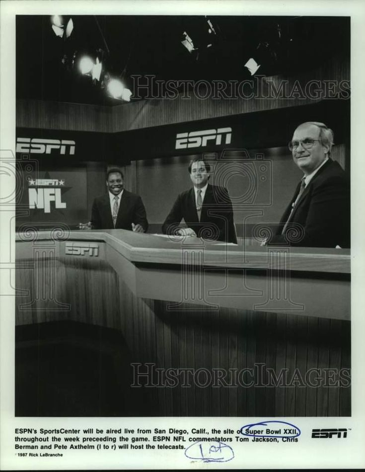 Press Photo ESPN NFL commentators Tom Jackson Chris Berman and Pete Axthelm