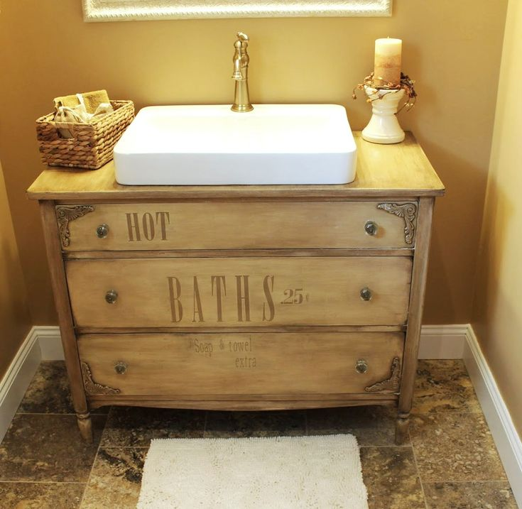 Cute primitive bathroom with distressed chalk painted