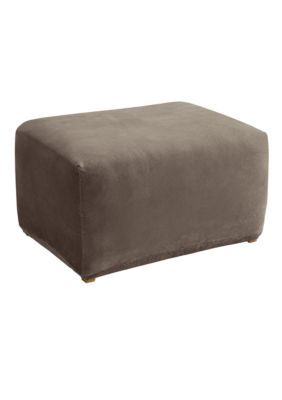 Sure Fit  Stretch Pique Oversized Ottoman Slipcover - Taupe - Slipcover Ottoman