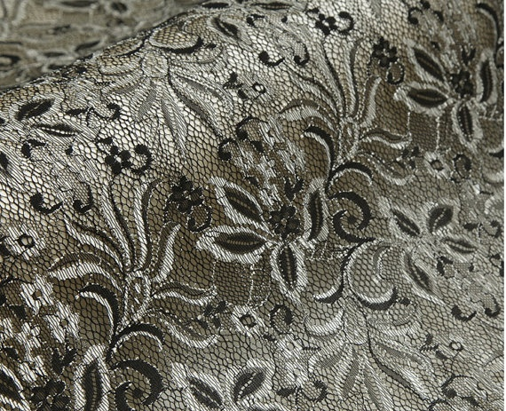 lace fabric  runway style  black mix champagne by StarryFashion, $20.00