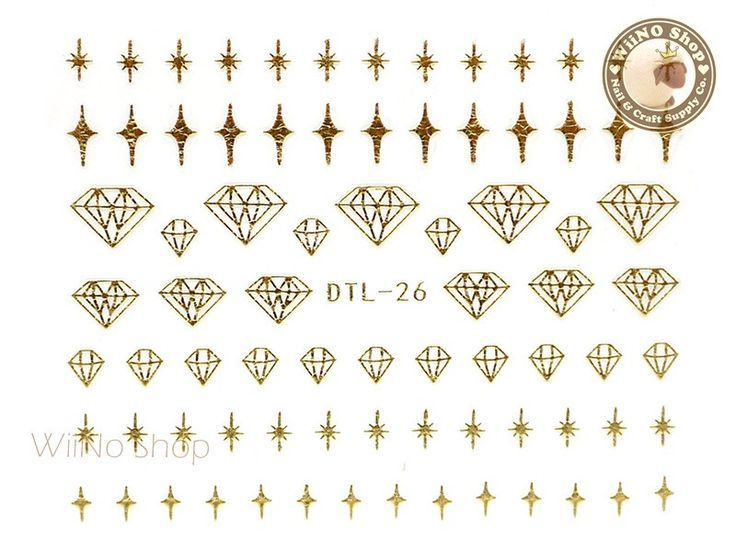 Dimonds Nails : Gold Bling Diamond Nail Art Sticker  1 pc (DTL-26G)