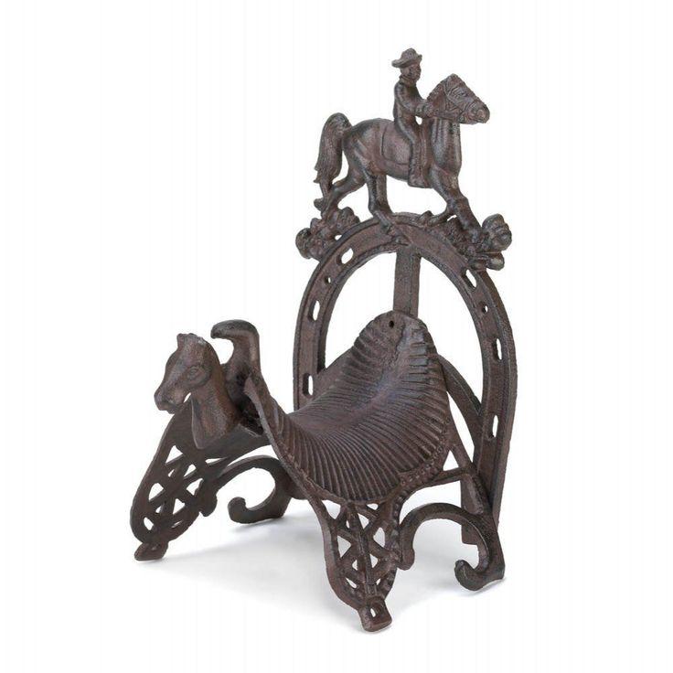 Western Garden Reel Cast Iron Cowboy Horse Saddle Hose Holder Outdoor  Decoration