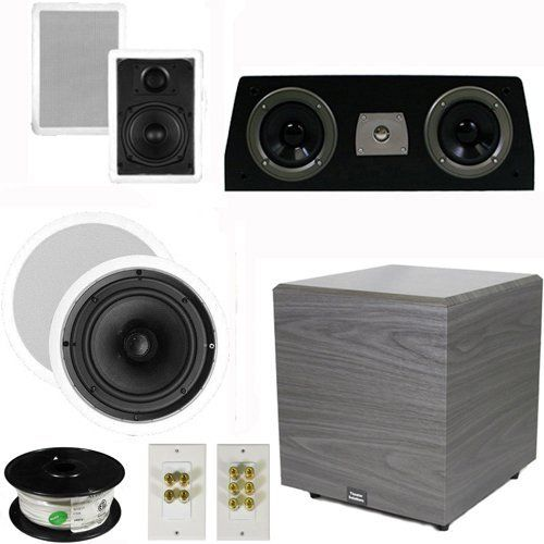 """5.1 Home Theater 4 Speaker Set with Center, 12"""" Powered Sub and More TS5W6CC51SET6 by Theater Solutions. $358.99. Specifications2 TS50W In Ceiling/Wall Speakers5.25"""" Woven Kevlar Driver with 50-20,000 Hz Range200 Watts RMS and 400 Watts Max per pair92dB SensitivityCut Out Size is 9.5"""" x 6""""Overall Measurement is 11"""" x 7.5""""Mounting Depth is 2.25""""2 TS65C In Ceiling/Wall Speakers6.5"""" Woven Kevlar Driver with 32-20,000 Hz Range200 Watts RMS and 400 Watts Max per pair92dB SensitivityC..."""