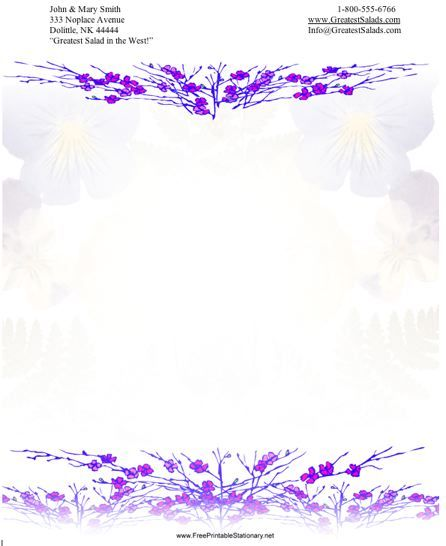 Sprays of small purple flowers line the top and bottom of this printable stationery. Free to download and print