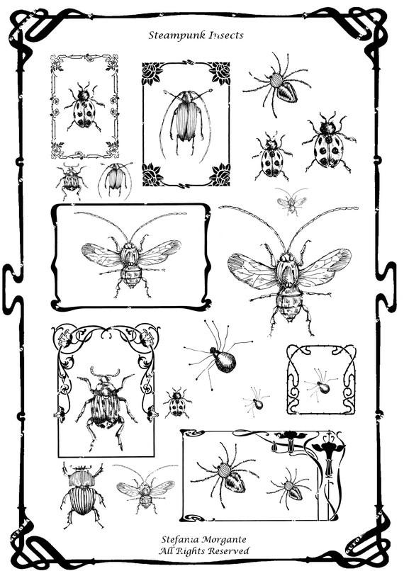 Steampunk Insects IllustrationDownload and by gufobardo on Etsy