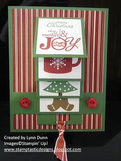hadnmade card fromStamptastic Designs: Waterfall Christmas Card ... luv the formal look with sharp lines ... red, white and green ... knotted ribbon pull ...