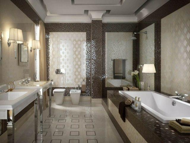 carrelage salle de bains moderne avec baignoire rectangulaire