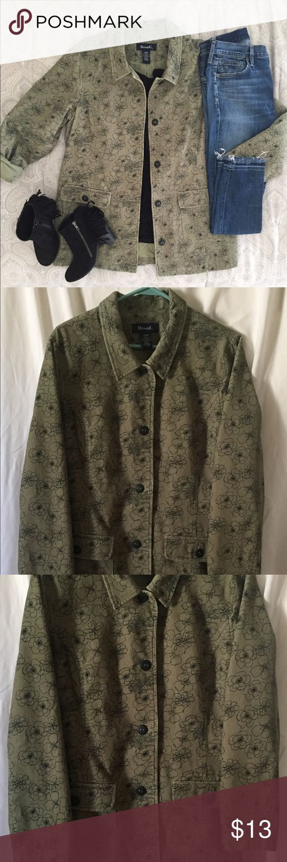 💚DENIM & COMPANY JACKET💚 💚DEMIN & COMPANY SAGE GREEN CORDUROY WOMENS JACKET. FLORAL PRINT. 2 POCKETS IN FRONT. SIZE LARGE, FITS SIMILAR TO EXTRA LARGE. EXCELLENT CONDITION.💚 Denim & Company Jackets & Coats