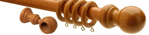 Natural & Stained Wooden Curtain Poles - Supplied with matching rings, brackets and finials