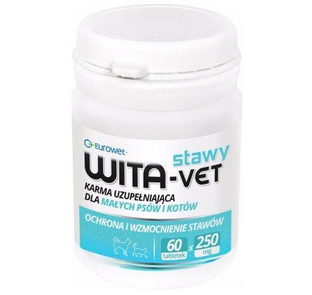 WITA-VET Stawy 60 tabletek. WITA-VET Stawy wzmacnia stawy, których wytrzymałość z wiekiem (7-8 lat) ulega pogorszeniu. Składniki preparatu pomagają utrzymać ich elastyczność i ruchomość. Regularne podawanie ułatwia poruszanie się zwierzętom starszym, z nadmierną wagą ciała lub poddawanych dużemu wysiłkowi fizycznemu (polowania, praca, wyścigi itp.).