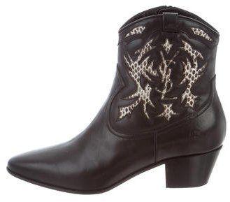Saint Laurent Snakeskin-Trimmed Cowboy Boots