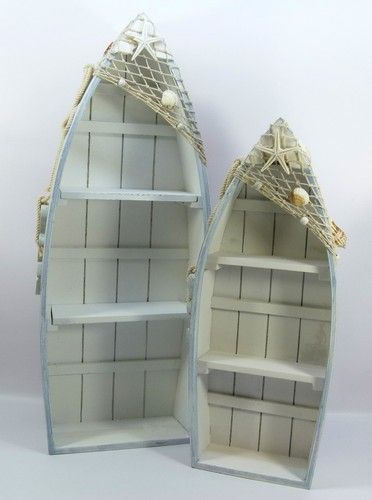 Shabby style, seaside/nautical theme, set of two boat shape shelf units, shells