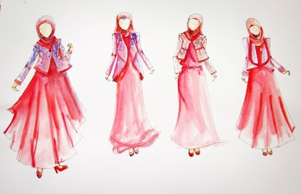#red dresses #hijabs