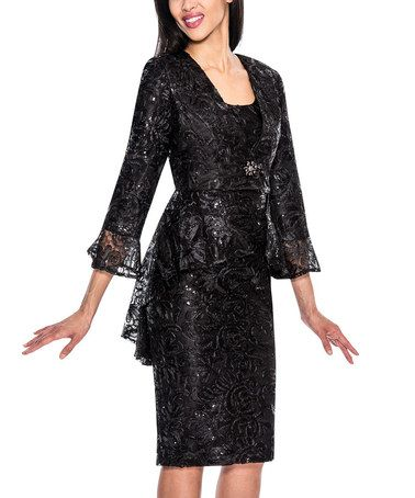 Another great find on #zulily! Black Lace Ruffle Suit - Plus Too #zulilyfinds