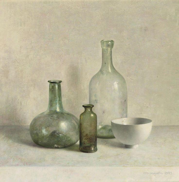 Henk Helmantel (Dutch, b. 1945),A Still Life with a Roman Glass, 1983. Oil on cardboard, 41.5 x 43cm.