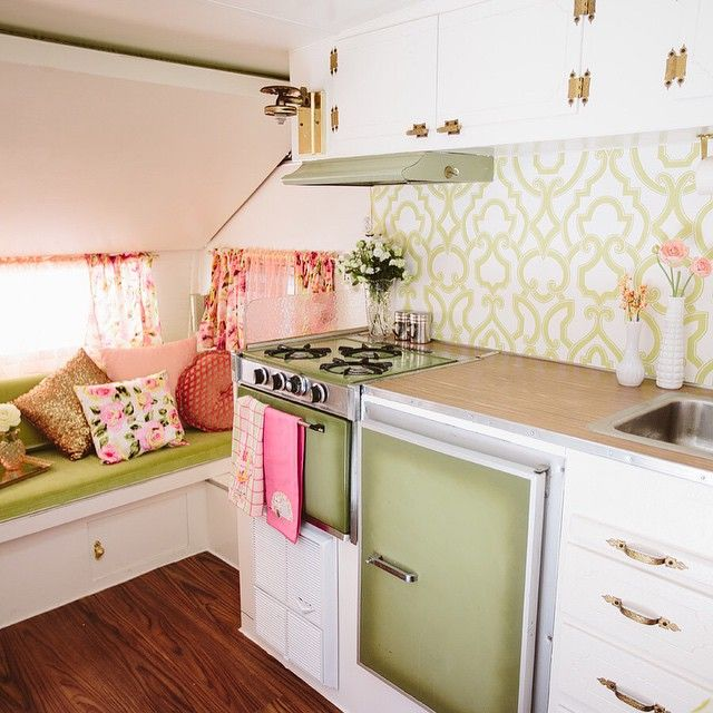 Per your request here's an inside glimpse at our beloved #glamper. #darla1966 #glamping She is legit w/ wallpaper and everything via @thibaut_1886