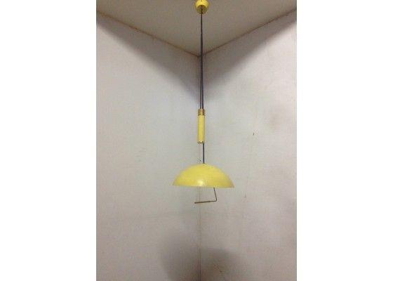 Yellow Retractable Pendant Lamp, 1950s
