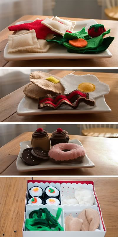 Felt food  @Michelle Flynn Rappuhn...If I started making these Sabrina would have every food imaginable! They are SO stinken cute :)