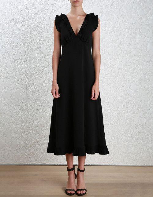 Zimmermann Pleat Midi Dress. Model Image.