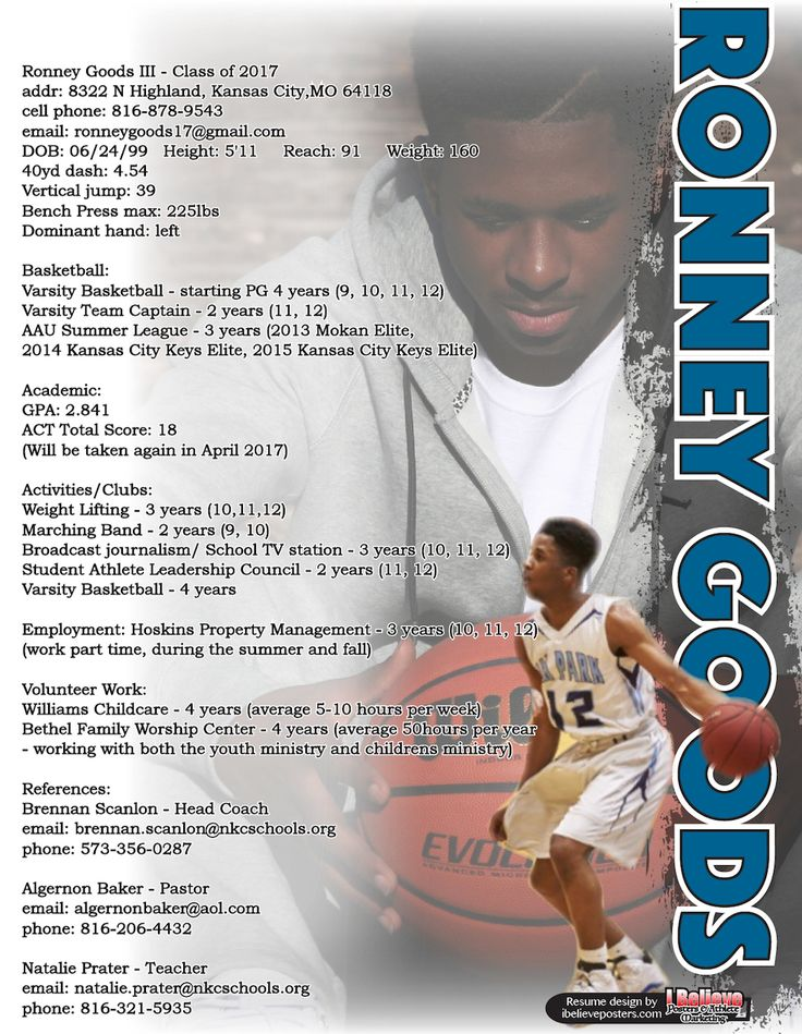 138 best sports resumes  recruiting flyers images on pinterest