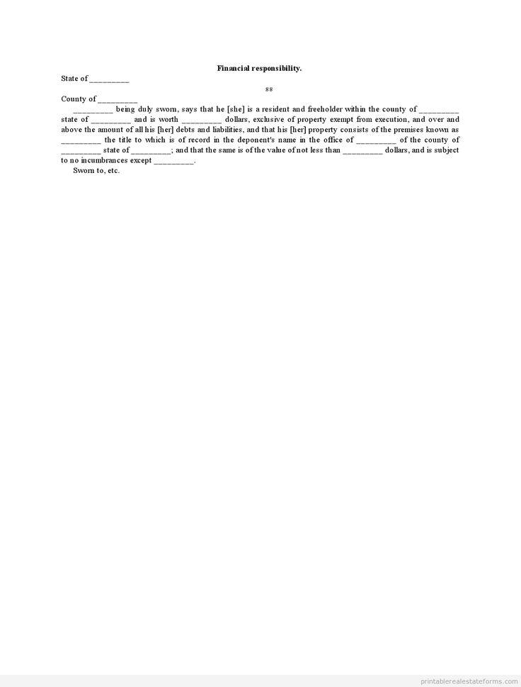 Sample Printable Financial Responsibility Form Sample