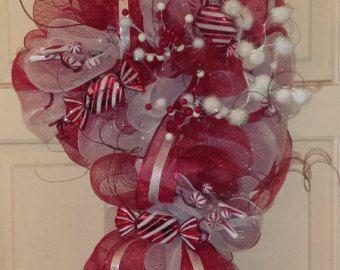 Bastón de caramelo Deco malla guirnalda de por AllOccasionsByRachel